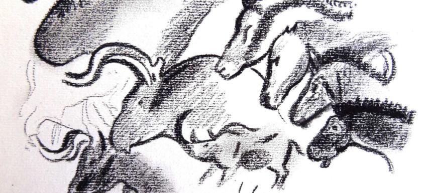 Copie réalisée au fusain d'une fresque de la grotte de Chauvet