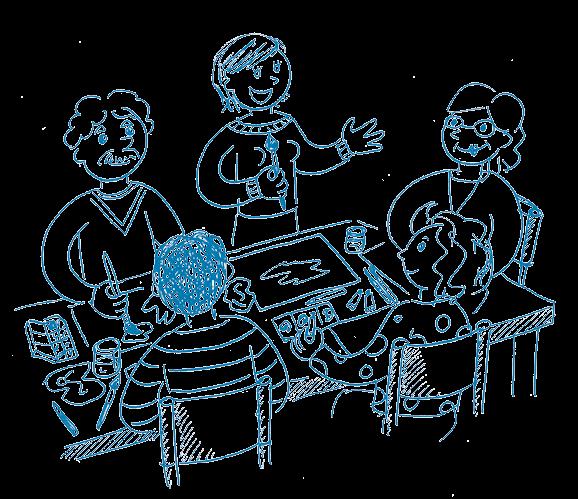 Illustration montrant la professeure de dessin donner des explications à ses quatre élèves