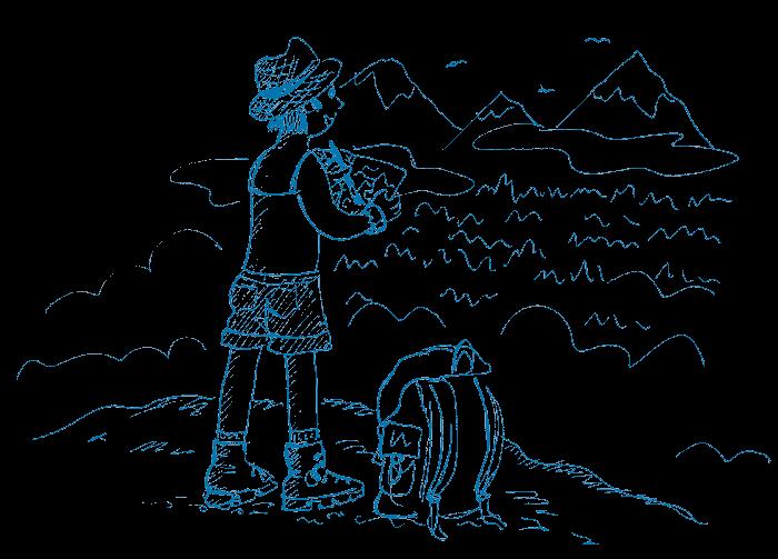 Illustration en bichromie d'une dessinatrice dans un paysage de  montagne dessinant dans son carnet de voyage.